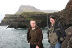 Tollakkur Hansen, producer, and Matthew Workman, host, in Gásadalur